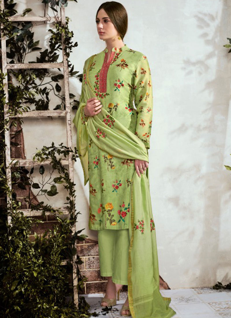 Cotton Designer Suit in Green