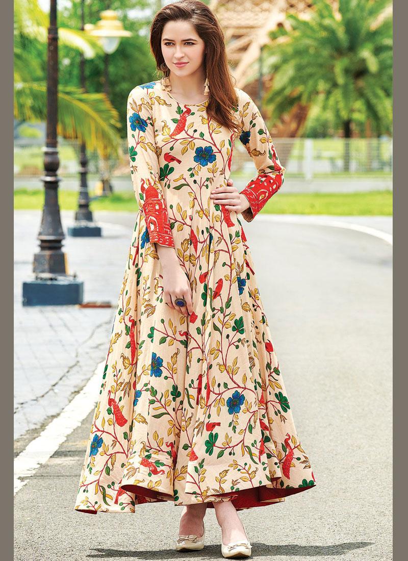 Cotton   Digital Print Designer Gown in Multi Colour