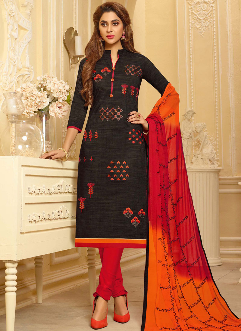 Cotton Embroidered Black Churidar Suit