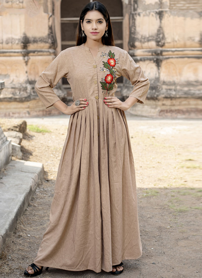 Cotton   Floor Length Kurti in Cream