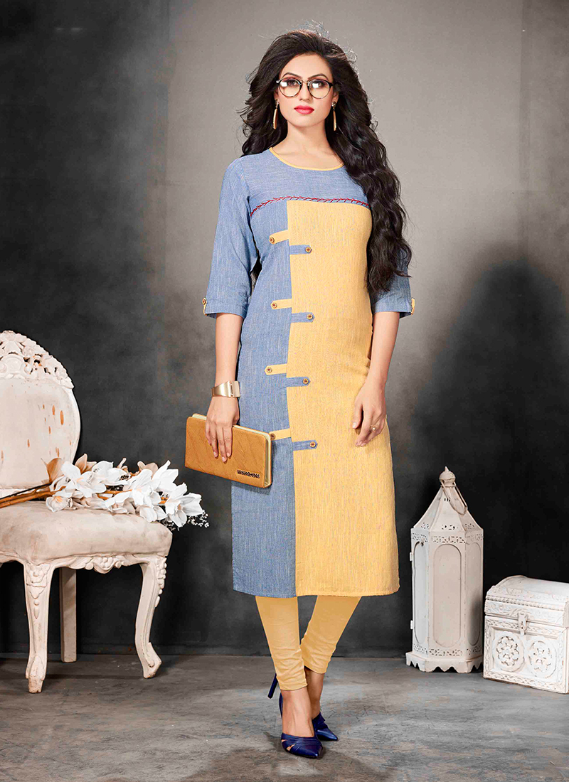 Cotton Party Wear Kurti in Blue and Yellow