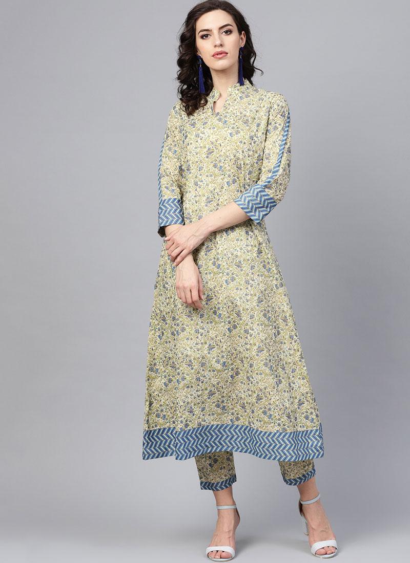 Cotton Print Multi Colour Party Wear Kurti