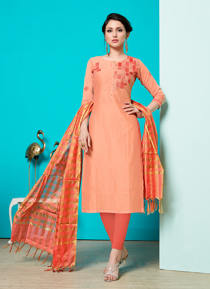 Cotton Print Peach Churidar Suit