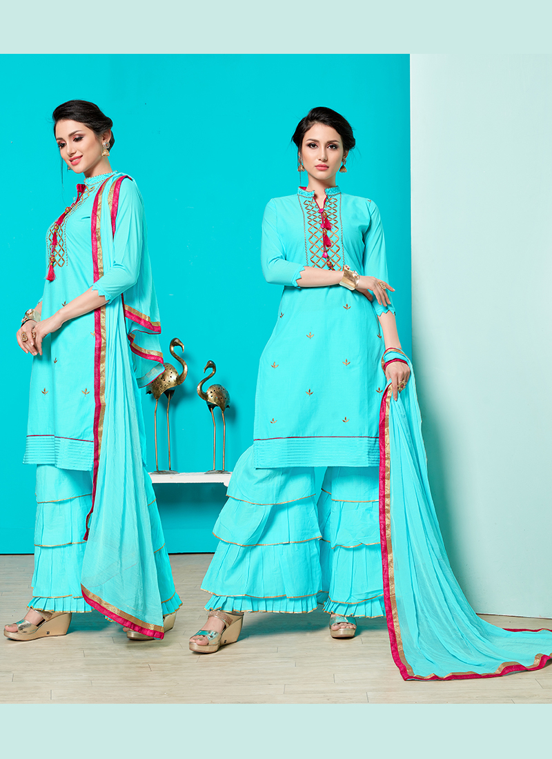 Cotton Print Turquoise Designer Pakistani Suit