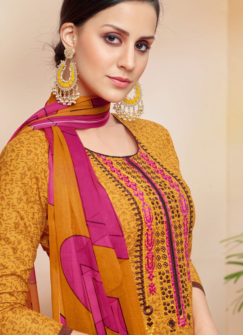 60b2bd3d13 Cotton Print Yellow Pakistani Suit. Hover to zoom