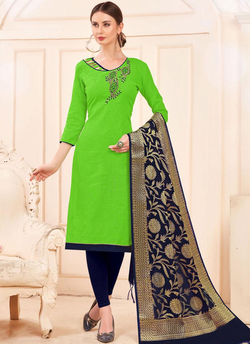 Cotton Salwar Kameez in Green