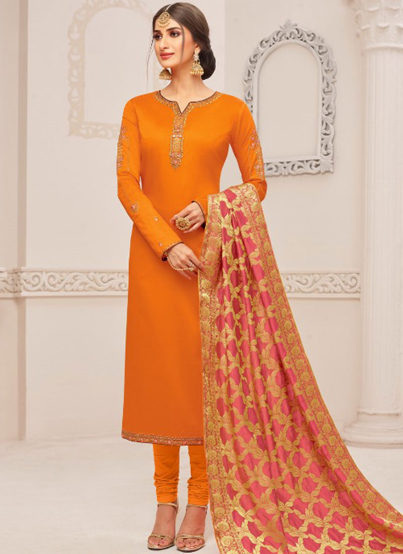 d8671921ba Cotton Silk Embroidered Churidar Suit in Orange. Hover to zoom