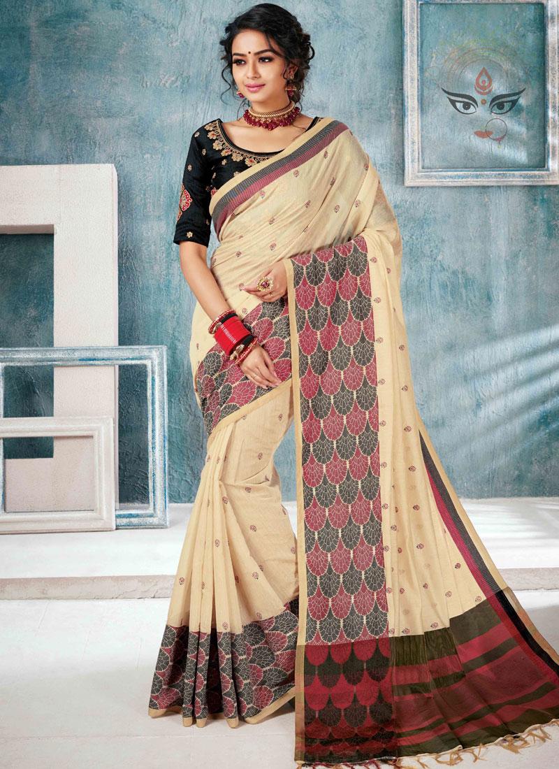 Cotton Silk Embroidered Designer Traditional Saree in Cream