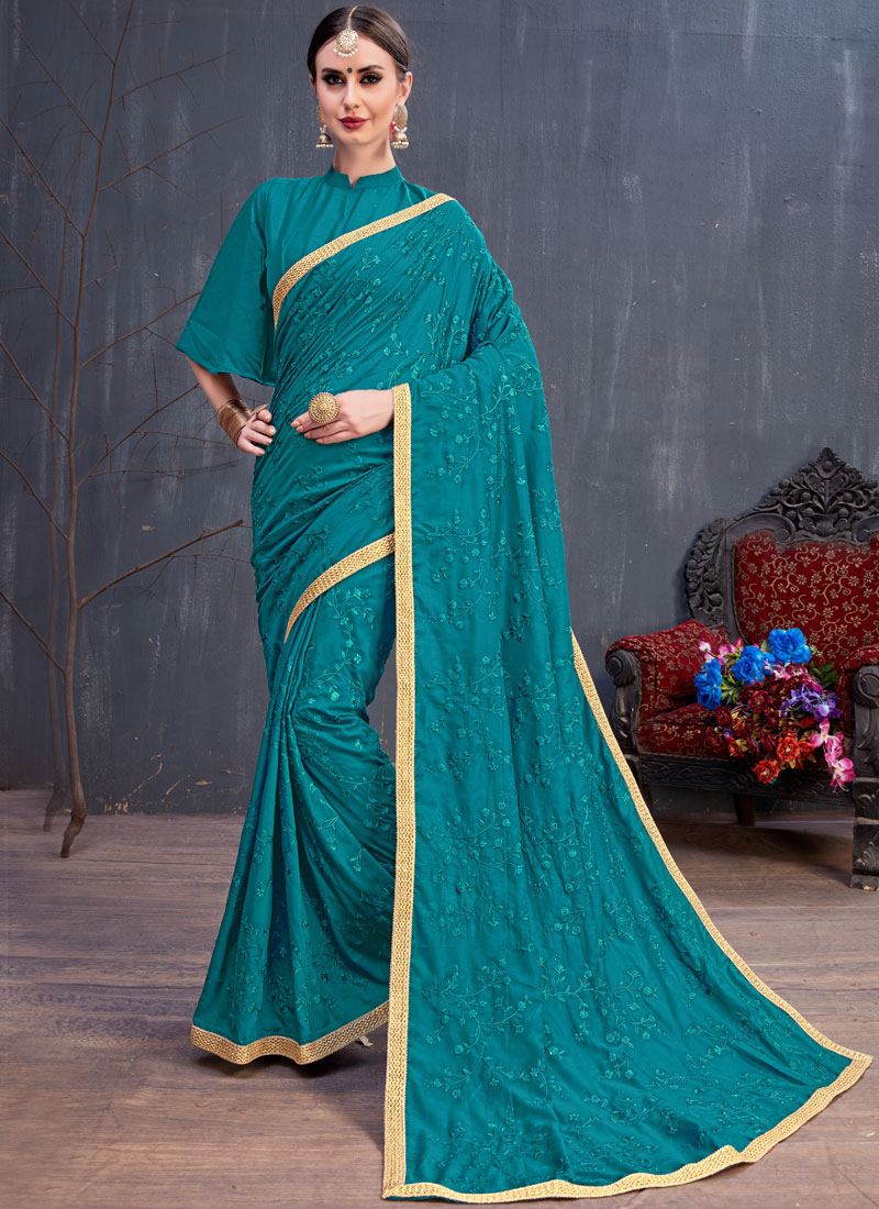 Cotton Teal Embroidered Classic Saree