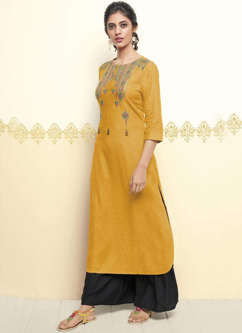 Cotton   Thread Work Party Wear Kurti in Yellow
