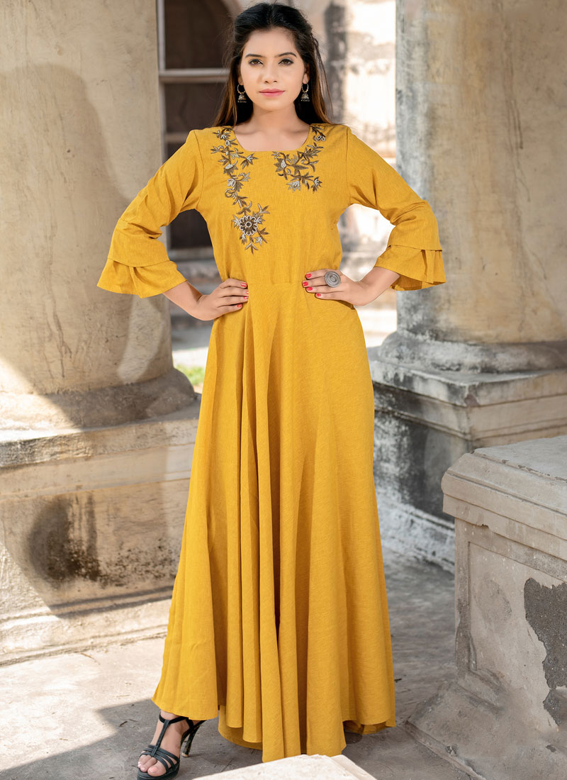 Cotton   Yellow Woven Floor Length Kurti