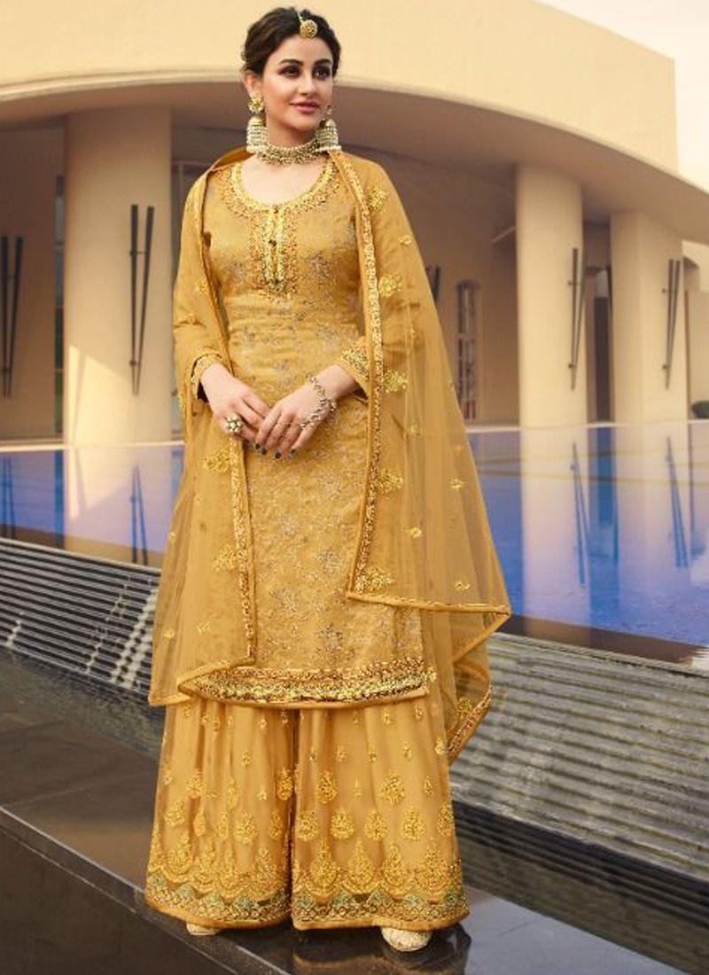 Courteous Silk Jacquard Wedding and Party Wear Mustard Salwar Kameez