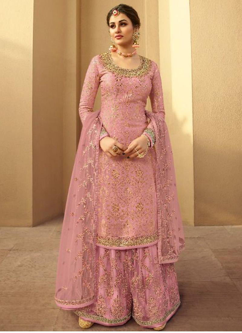 Courteous Silk Jacquard Wedding and Party Wear Salmon Pink Salwar Kameez