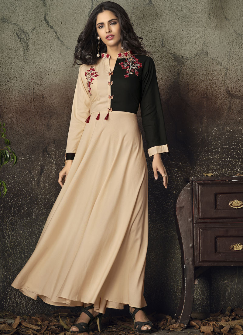 Cream Embroidered Party Party Wear Kurti
