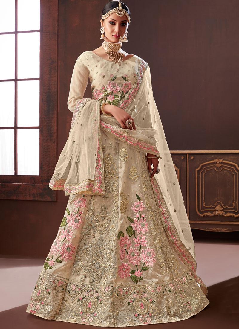 Cream Mehndi Designer Lehenga Choli