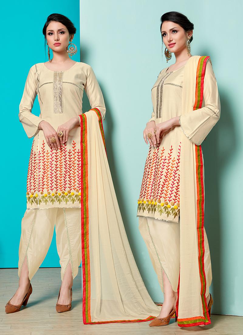 Cream Print Designer Suit