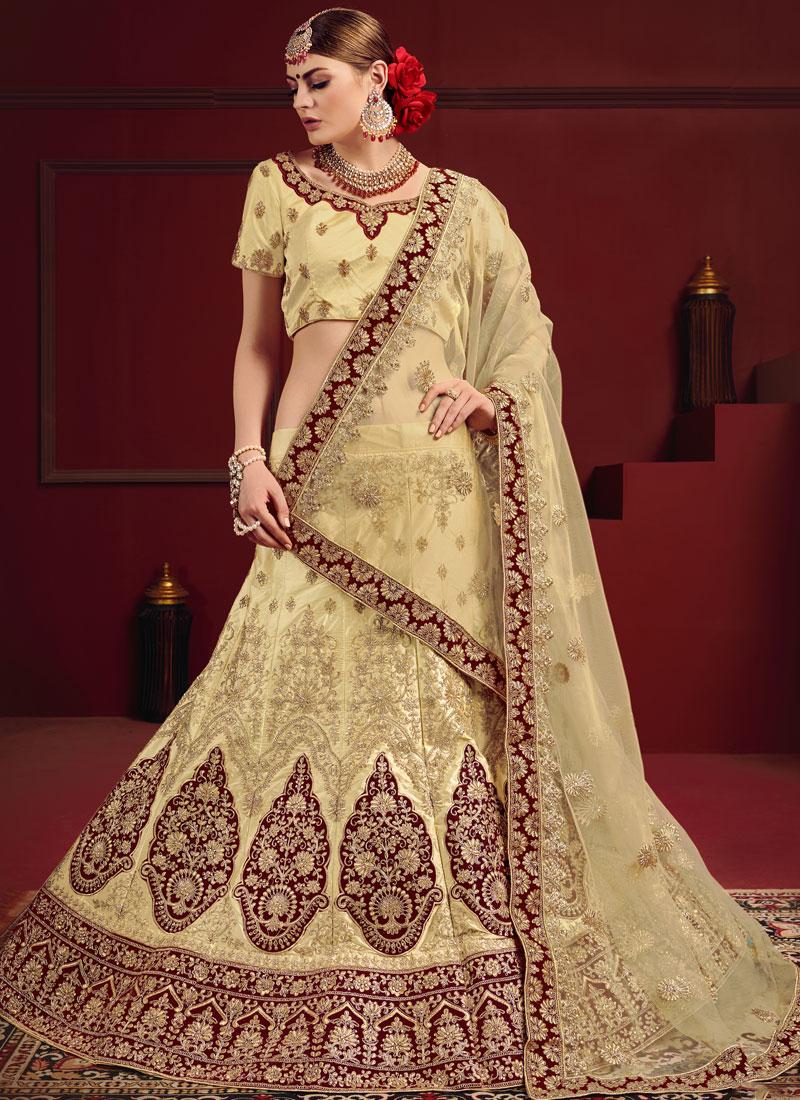 Cream Sangeet Satin Designer Bridal Lehenga Choli