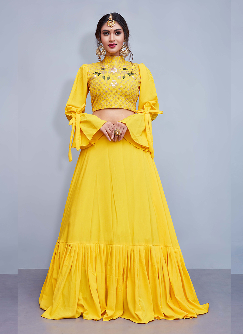 Crepe Silk Yellow Embroidered Readymade Lehenga Choli