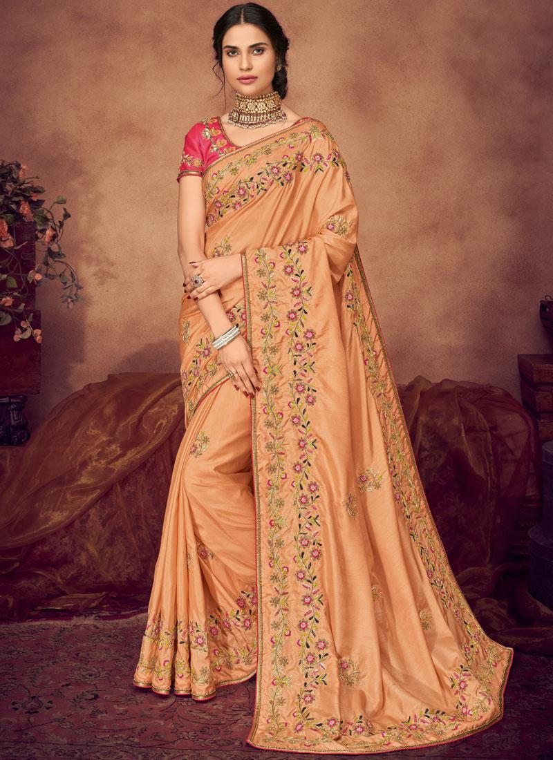 Cute Art Silk Peach Classic Saree