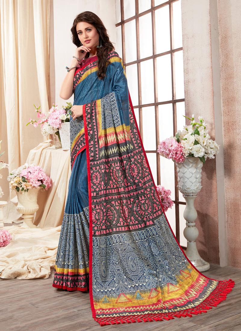 Cute Multi Colour Abstract Print Printed Saree