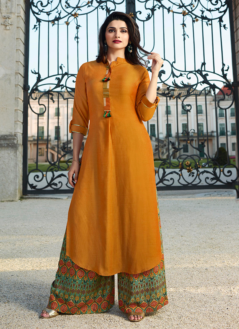 1e3181135e28 Dashing Yellow Fancy Party Wear Kurti. Hover to zoom