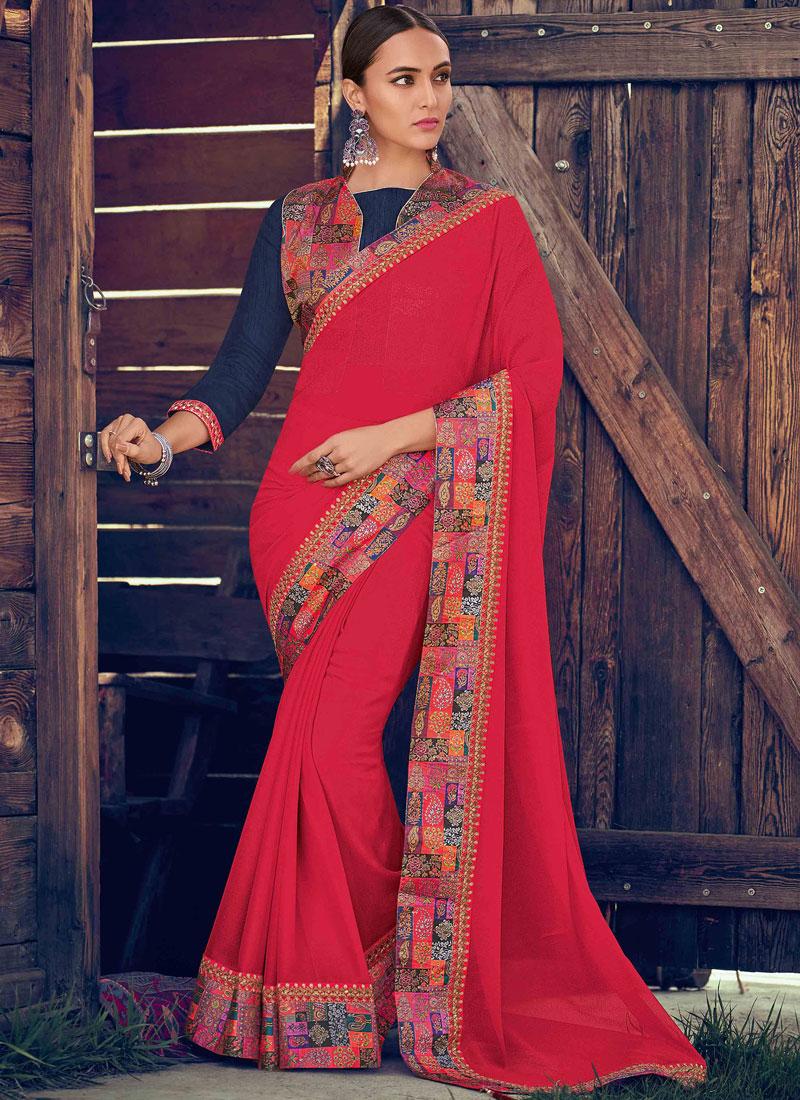 Dazzling Border Georgette Pink Trendy Saree