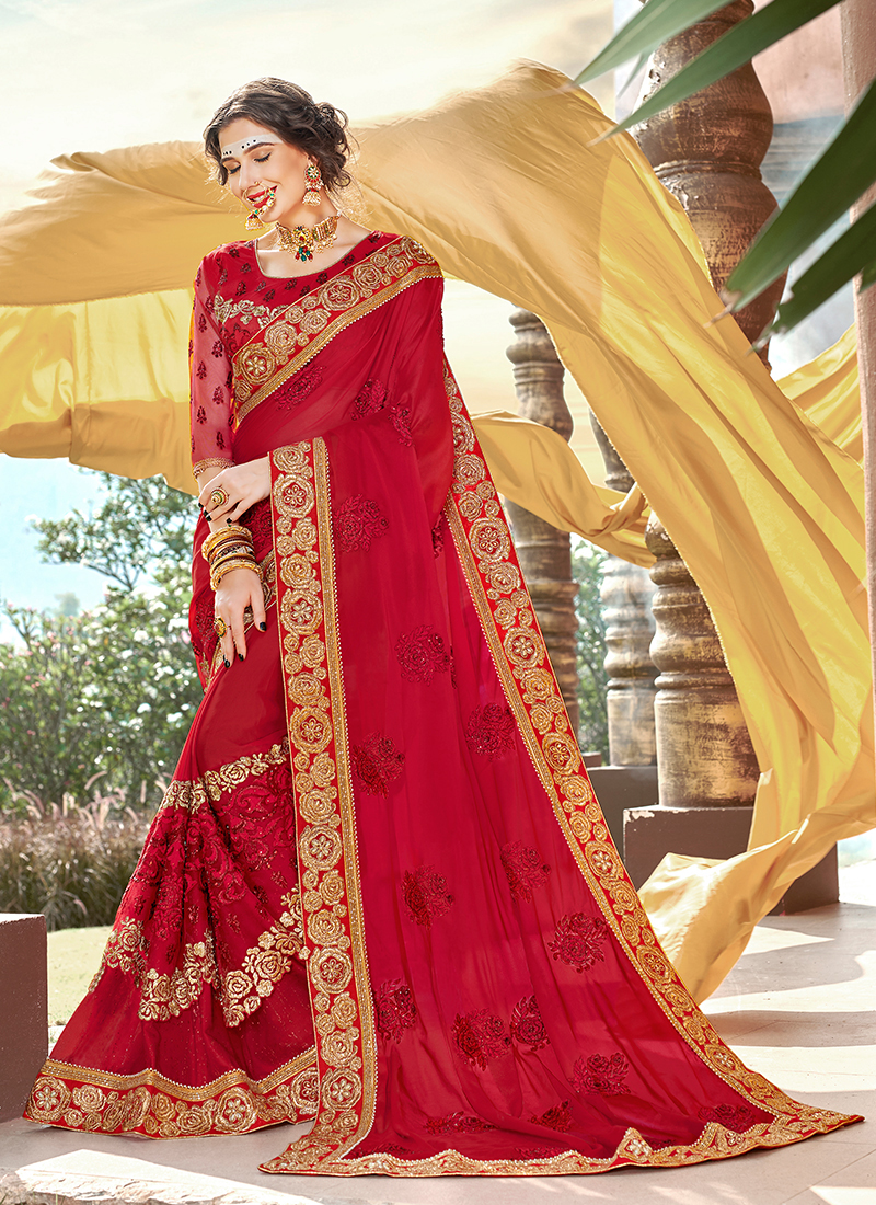 Dazzling Embroidered Ceremonial Classic Saree