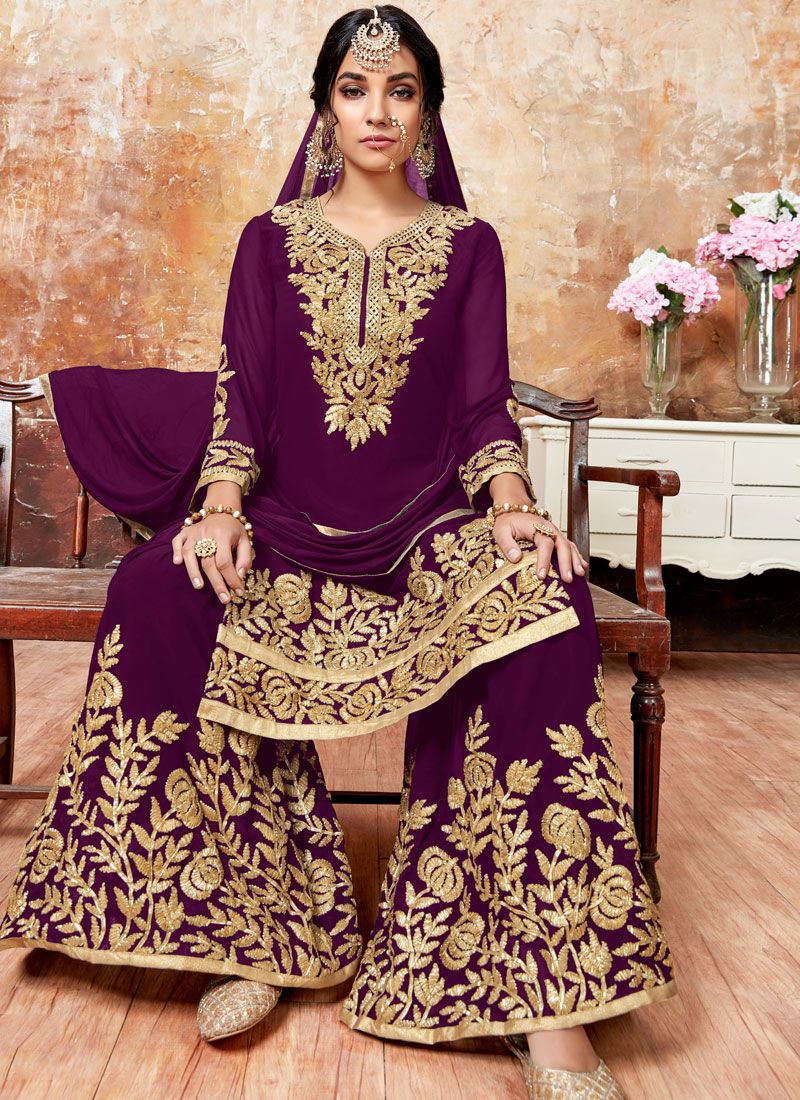 Dazzling Zari Faux Georgette Purple Designer Pakistani Suit
