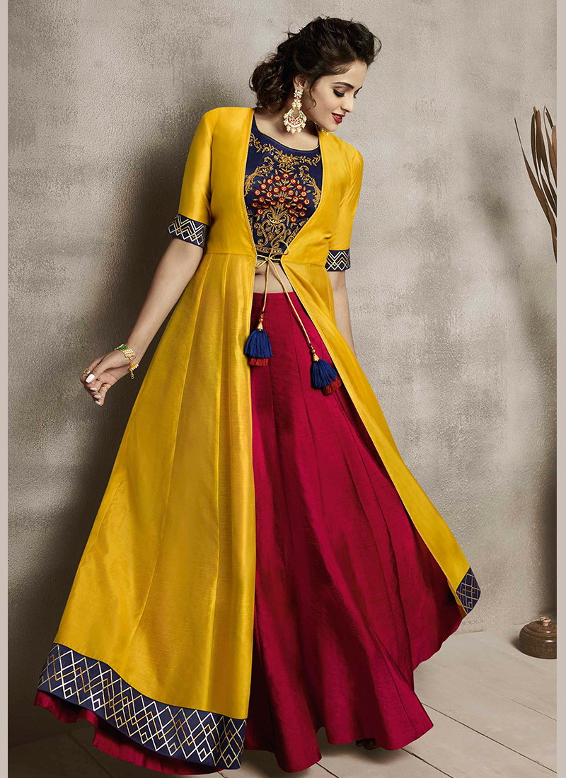 98c004b81 Delectable Embroidered Maroon and Yellow Party Wear Kurti