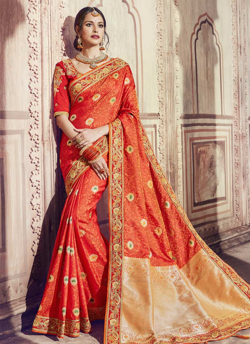 Delectable Orange Zari Banarasi Silk Classic Saree