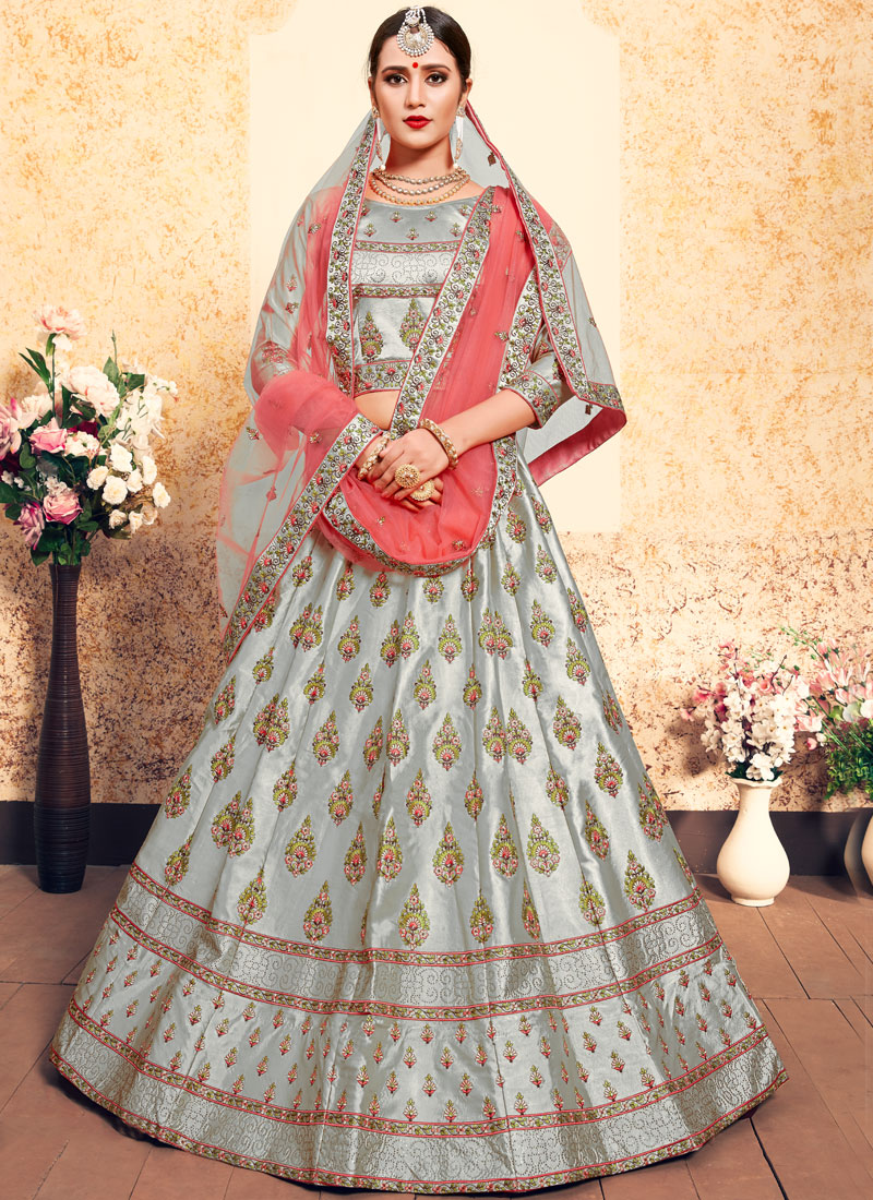 Delectable Thread Grey Satin Designer Lehenga Choli