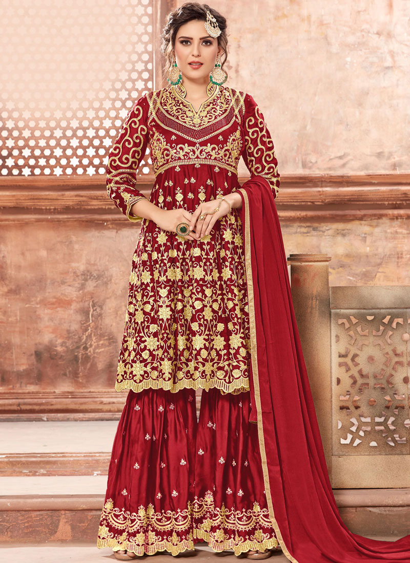 d81156a2d1 Delightsome Red Designer Pakistani Suit. Hover to zoom