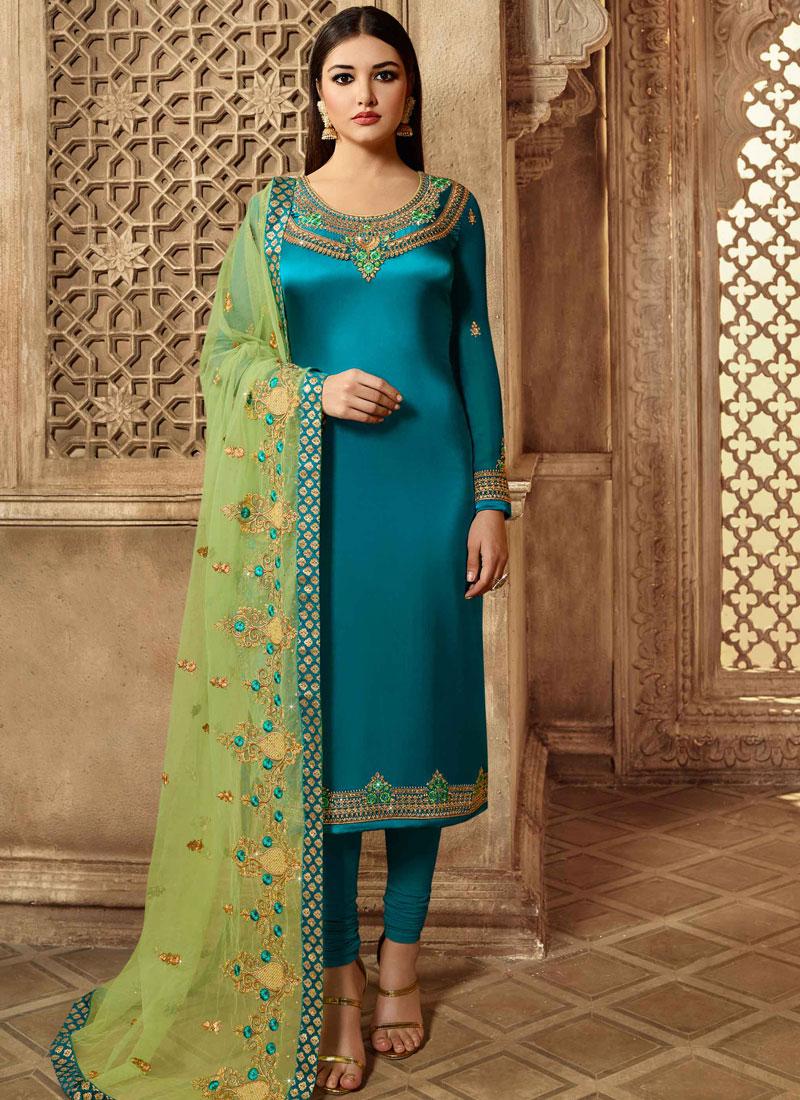 Deserving Resham Mehndi Churidar Suit