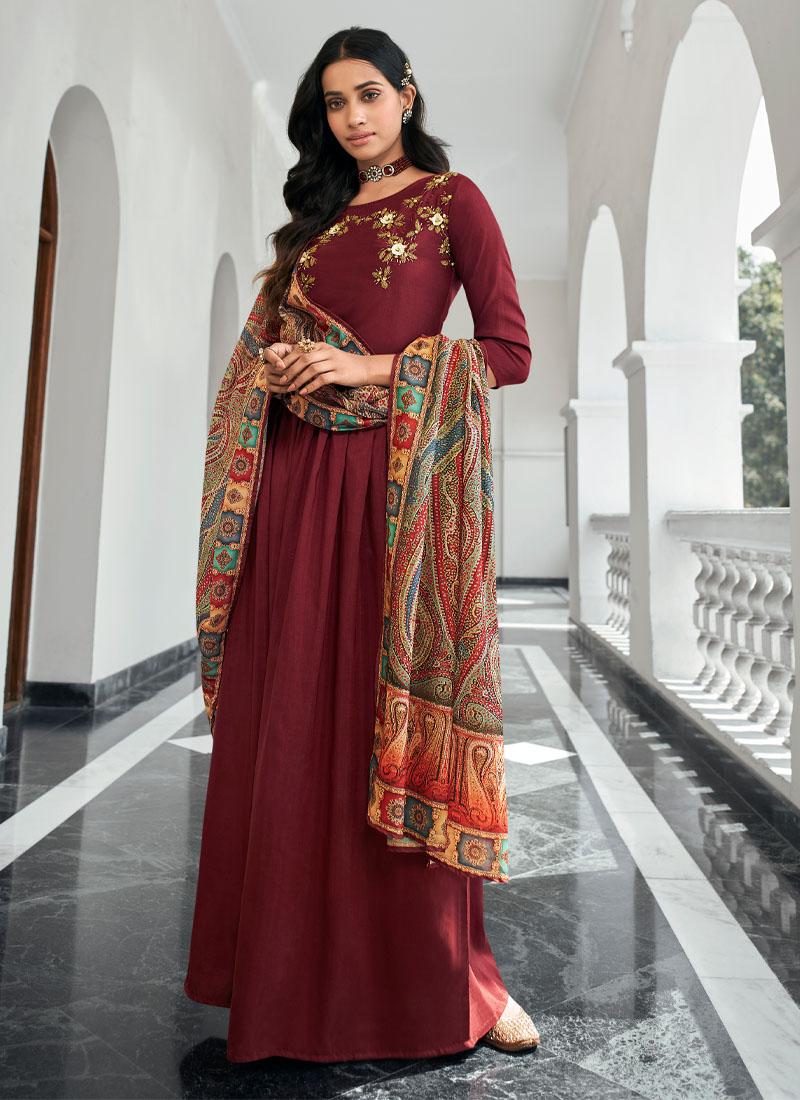 Designer Embroidery Work On Maslin Salwar Suit In Rust