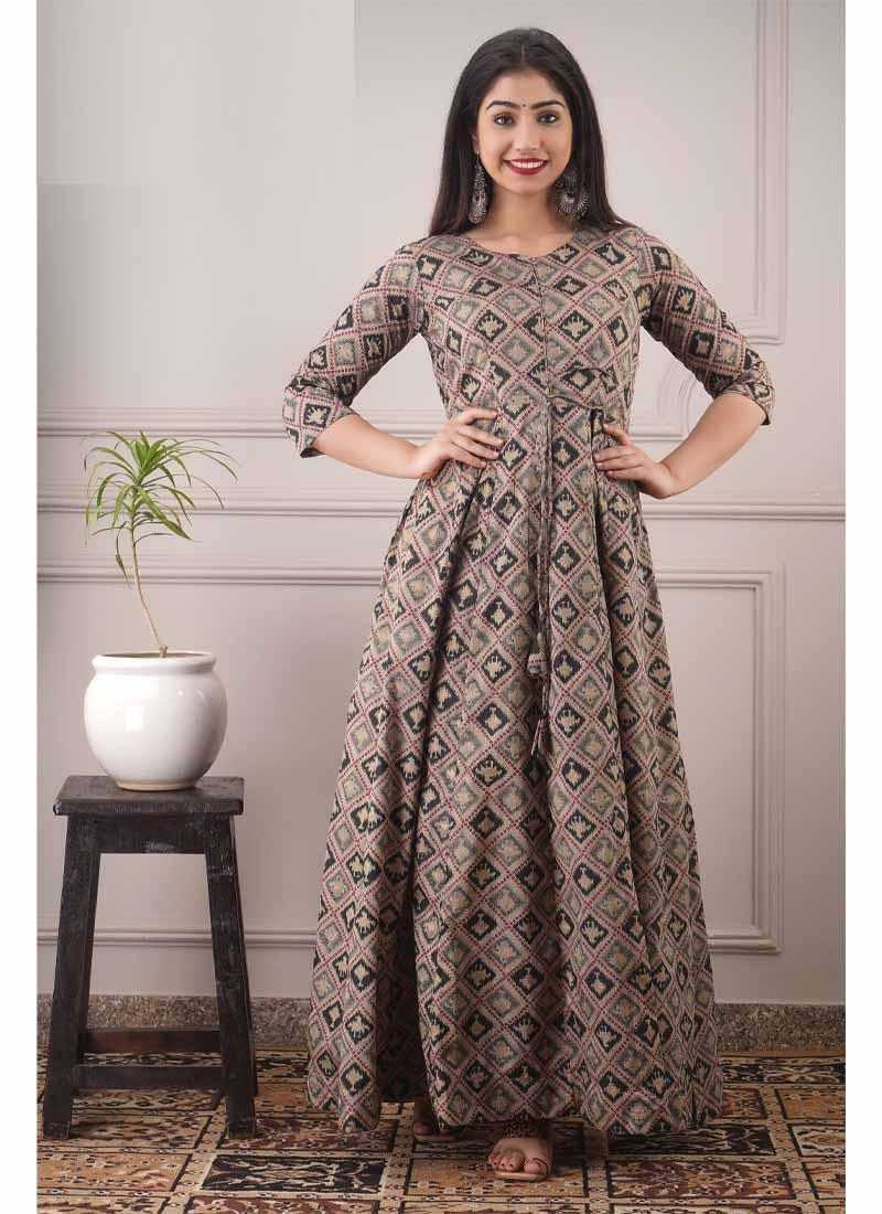 Designer Foil Print Grey & Black Pure Chanderi Floor Length Gown