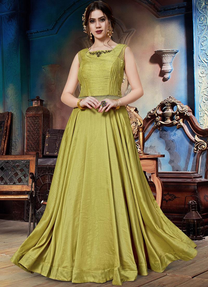 Designer Gown Embroidered Art Silk in Green