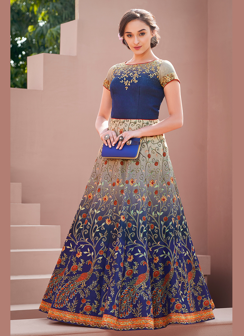 Designer Gown Resham Satin Silk in Blue