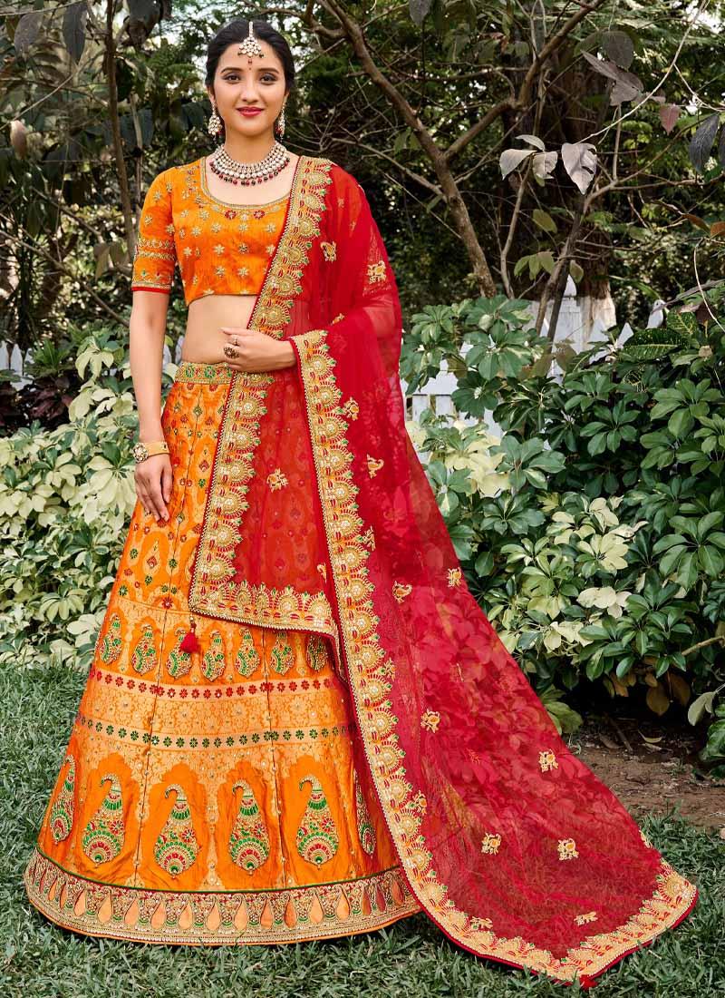 Designer Heavy Silk Hand Work Lehenga Choli In Orange