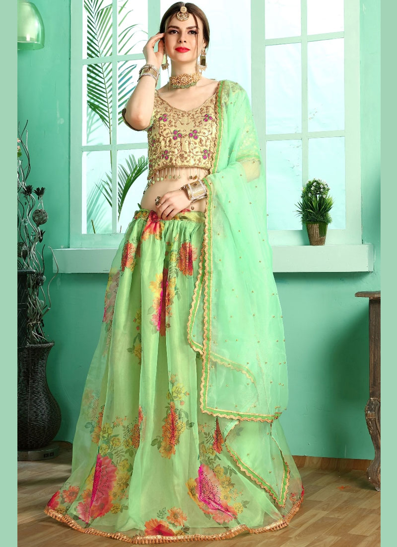 0ec00db169 Designer Lehenga Choli Digital Print Silk in Green. Tap to expand