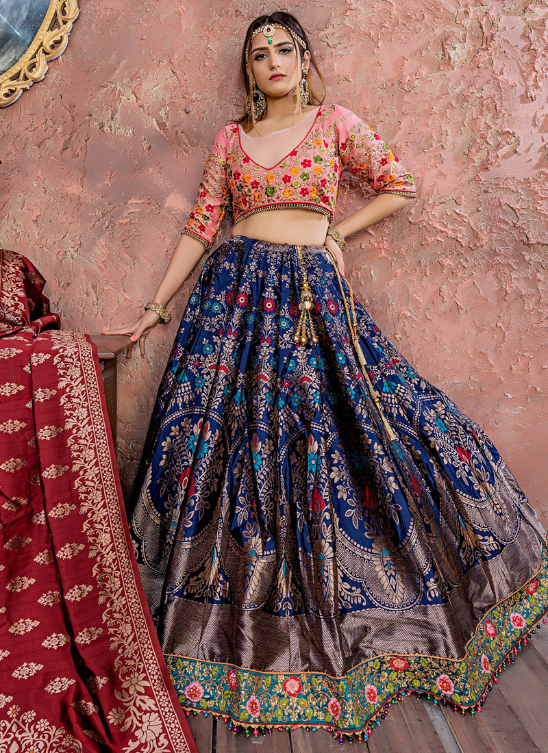 Designer Lehenga Choli Dori Work Banarasi Silk