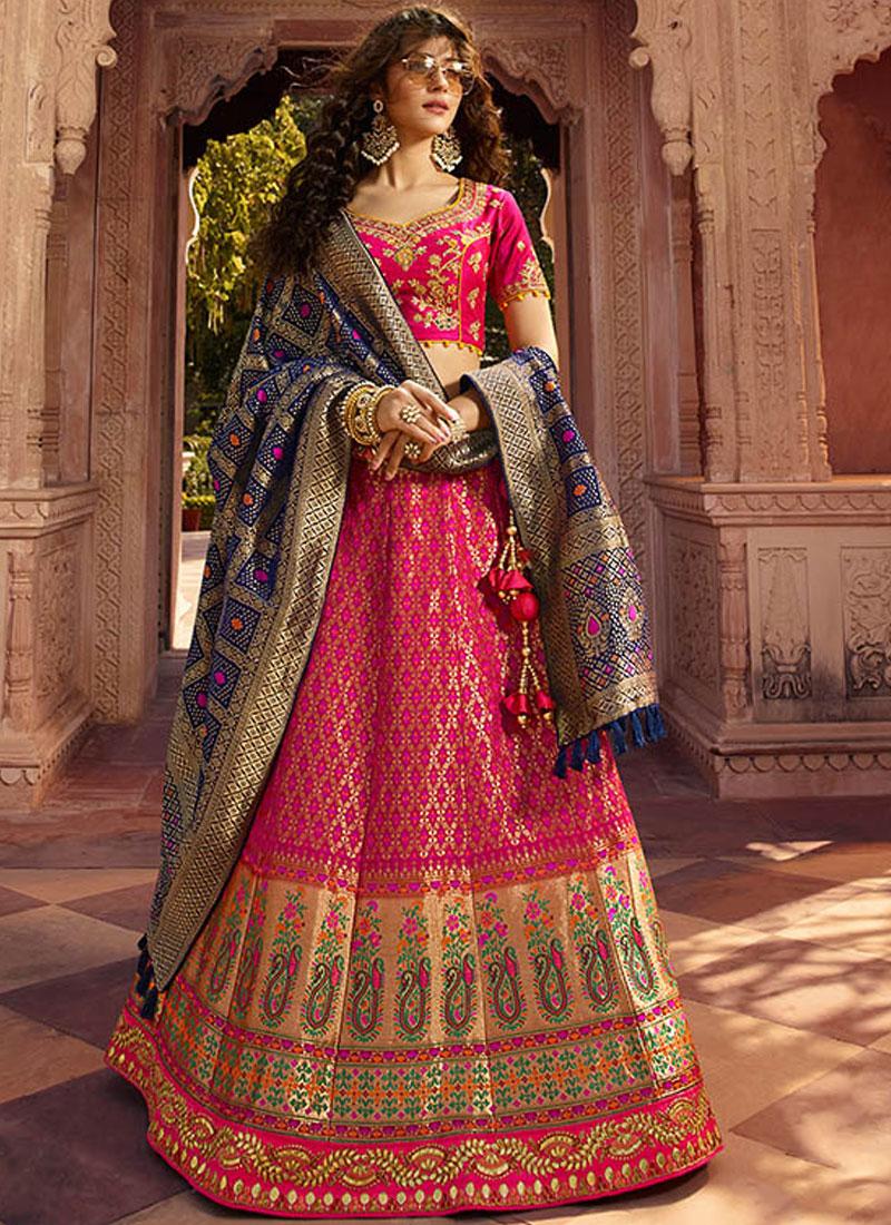 530c56de8f Designer Lehenga Choli Embroidered Jacquard Silk in Pink. Hover to zoom