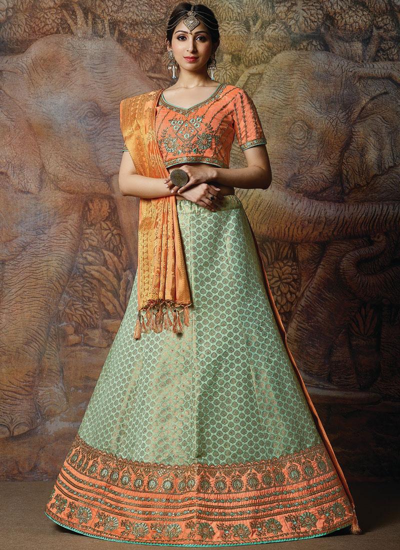 Designer Lehenga Choli Embroidered Silk in Green