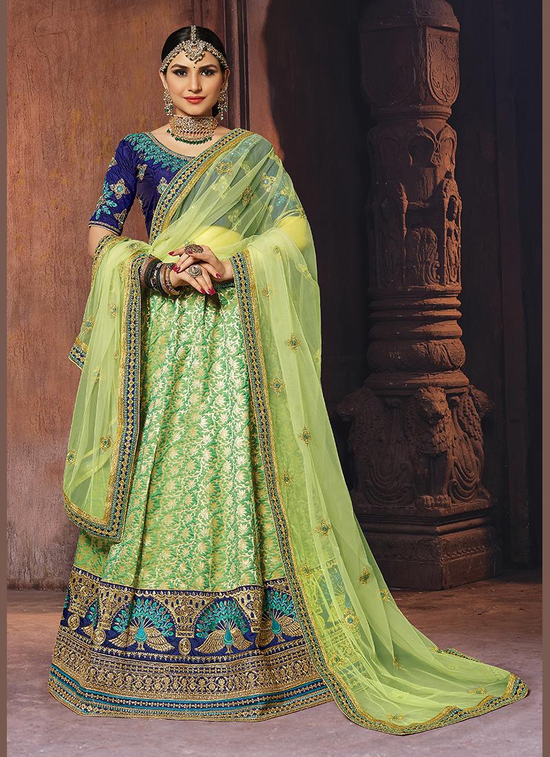 Designer Lehenga Choli Patch Border Banarasi Silk in Green