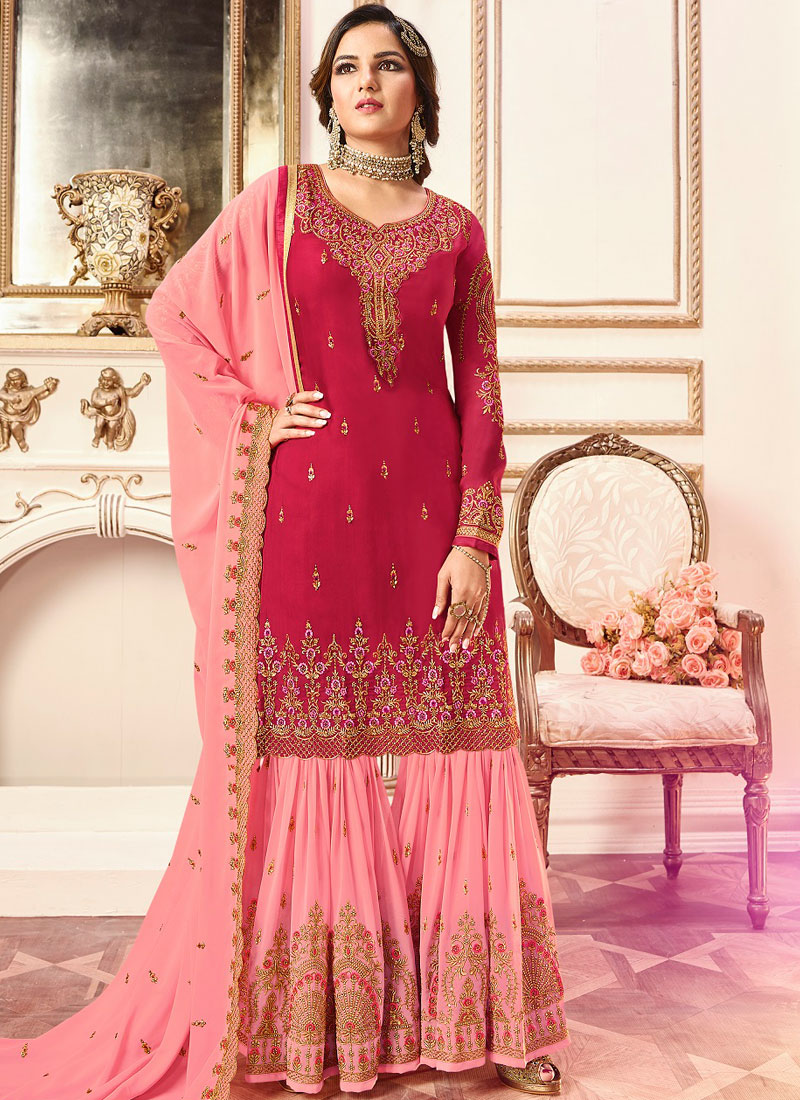 892cf899b1 Designer Pakistani Suit Embroidered Faux Georgette in Hot Pink. Hover to  zoom