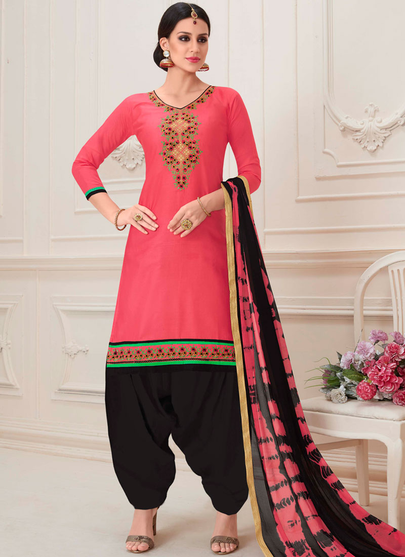 00663e586b Designer Patiala Suit Embroidered Cotton in Rose Pink. Hover to zoom