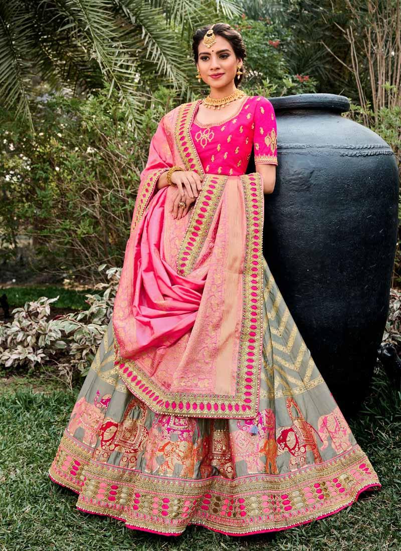 Designer Silk Embroidery Lehenga Choli In Pink