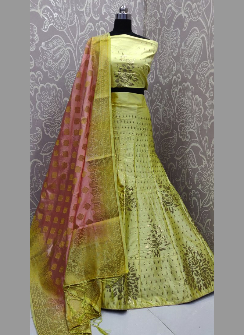Exceptional thread work lemon yellow silk semi stitched lehenga choli with blouse