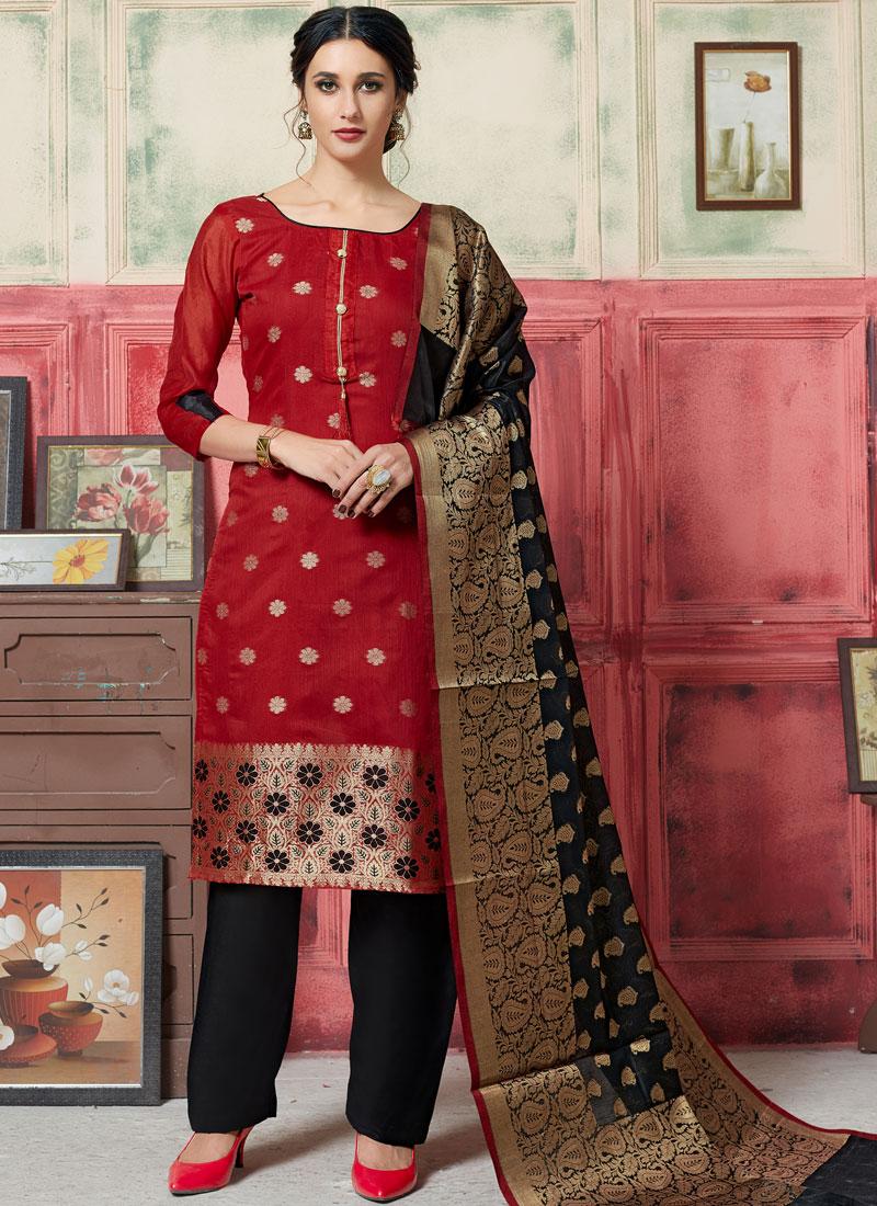 Desirable Weaving Jacquard Silk Maroon Designer Suit