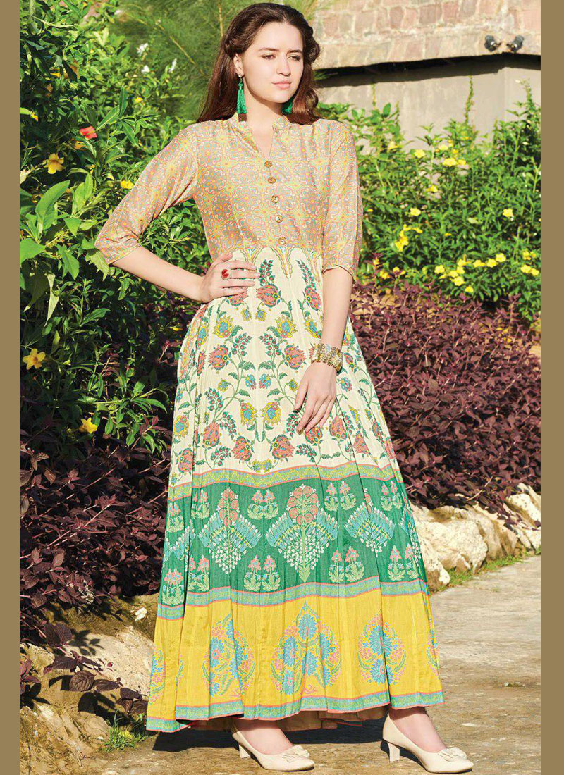 Digital Print Fancy Fabric Party Wear Kurti in Multi Colour
