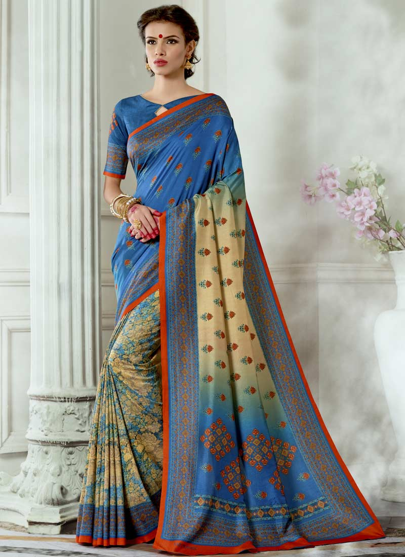 Digital Print Tussar Silk Casual Saree in Multi Colour